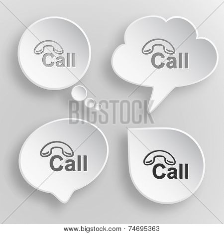 Hotline. White flat vector buttons on gray background.