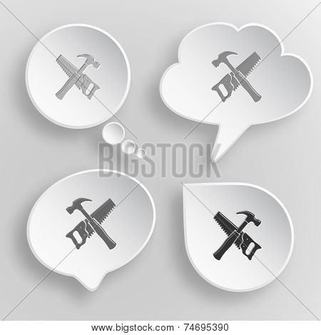 Hand saw and hammer. White flat vector buttons on gray background.