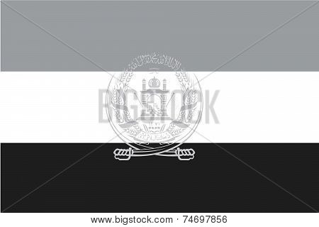 Illustrated Grayscale Flag Of The Country Of Afghanistan