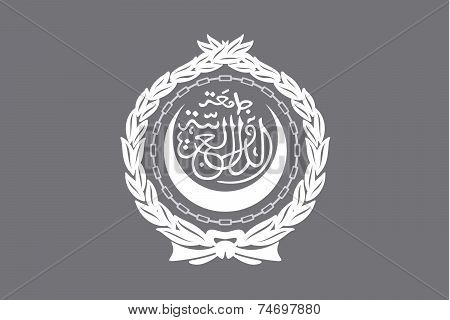 Illustrated Grayscale Flag Of The Country Of Arab League