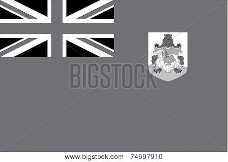 Illustrated Grayscale Flag Of The Country Of Bermuda