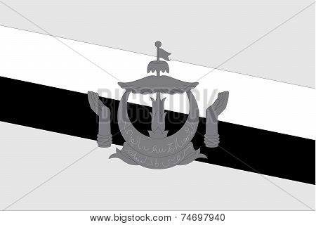 Illustrated Grayscale Flag Of The Country Of Brunei