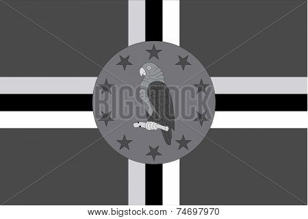Illustrated Grayscale Flag Of The Country Of Dominica
