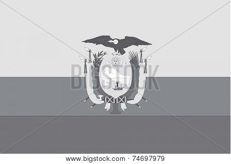 Illustrated Grayscale Flag Of The Country Of Ecuador