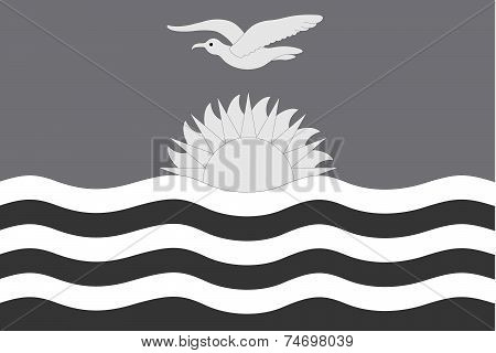 Illustrated Grayscale Flag Of The Country Of Kiribati