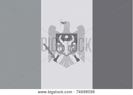 Illustrated Grayscale Flag Of The Country Of Moldova