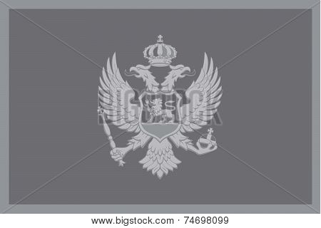 Illustrated Grayscale Flag Of The Country Of Montenegro