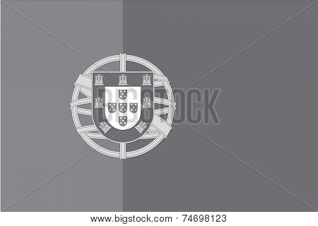 Illustrated Grayscale Flag Of The Country Of Portugal