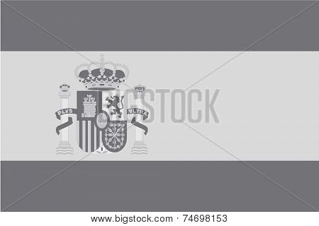 Illustrated Grayscale Flag Of The Country Of Spain