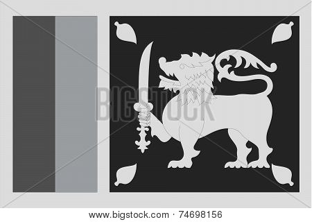Illustrated Grayscale Flag Of The Country Of Sri Lanka