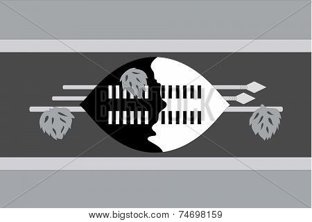 Illustrated Grayscale Flag Of The Country Of Swaziland
