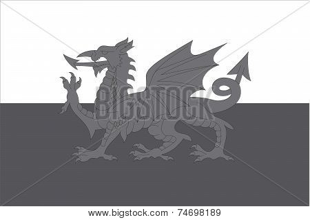 Illustrated Grayscale Flag Of The Country Of Wales