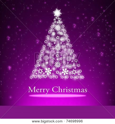 Purple Christmas Background With Christmas Tree,