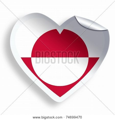 Heart Sticker With Flag Of Greenland Isolated On White