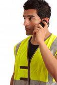 Tradesman Handyman On The Phone poster