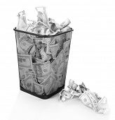 picture of dustbin  - Money in dustbin isolated on white - JPG