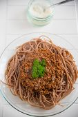 picture of whole-grain  - Whole Grain Spaghetti Bolognese on a plate