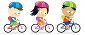 Постер, плакат: Дети езда велосипеды