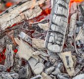 image of ember  - Close up of wooden embers. Whole background.