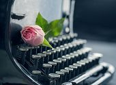 picture of old vintage typewriter  - Old antique black vintage typewriter with a pink romantic rose - JPG
