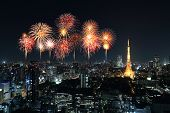 picture of ward  - Fireworks celebrating over Tokyo cityscape at night Japan - JPG