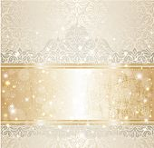 picture of snow border  - Bright shiny luxury vintage invitation pattern background with gold and silver - JPG