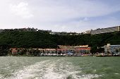 stock photo of conquistadors  - The picturesque El Conquistador hotel as seen from the ocean below - JPG