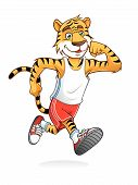 picture of cute tiger  - tiger is running like athletes runners happily - JPG