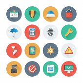 stock photo of virus scan  - Pixel perfect flat icons set with long shadow effect of various security objects information and data protection system safety access elements - JPG