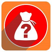 picture of riddles  - riddle red flat icon isolated  - JPG