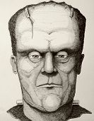 image of frankenstein  - Frankenstein drawn from a different perspective in pencil - JPG