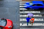 stock photo of pedestrian crossing  - pedestrian crossing with car in the autumn - JPG