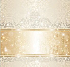 stock photo of invitation  - Bright shiny luxury vintage invitation pattern background with gold and silver - JPG