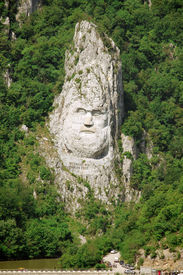 foto of decebal  - rock sculpture of Decebalus in Iron Gates Natural Park - JPG