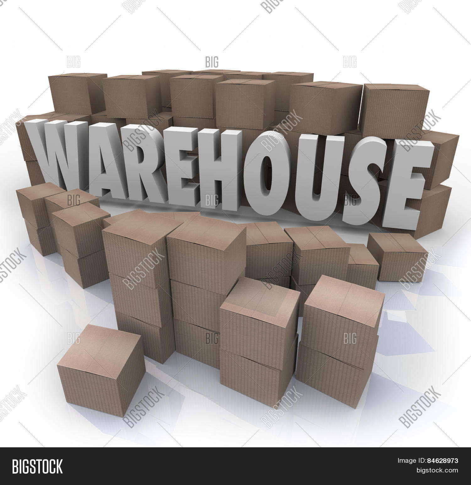 Warehouse word in 3d letters surrounded by cardboard boxes for Cheap 3d cardboard letters