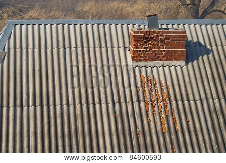 Crumbling Brick Chimney