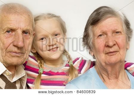 Granddaughter With Grandfather And Grandmother