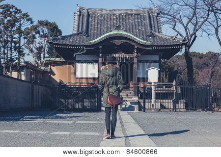Woman Walking In Ueno Park