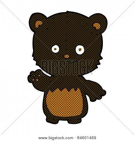 retro comic book style cartoon black bear cub waving