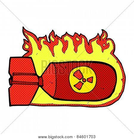 retro comic book style cartoon nuclear bomb