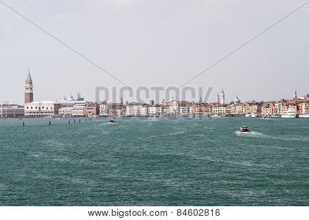 Doges Palace, Quays And Water Traffic In Summer Venice