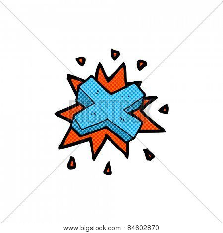 retro comic book style cartoon negative cross symbol