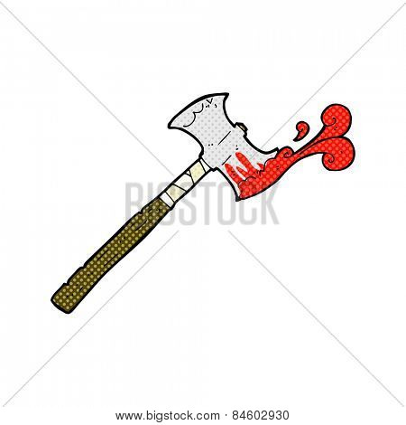 retro comic book style cartoon double sided axe