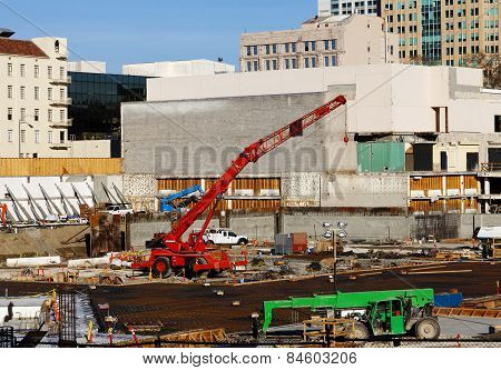 Downtown Construction Site Ground Floor With Cranes