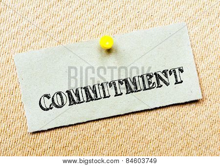 Recycled Paper Note Pinned On Cork Board.commitment Message. Concept Image