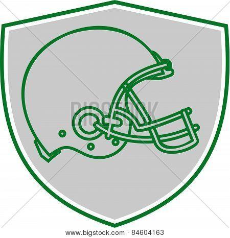 American Football Helmet Line Drawing Retro
