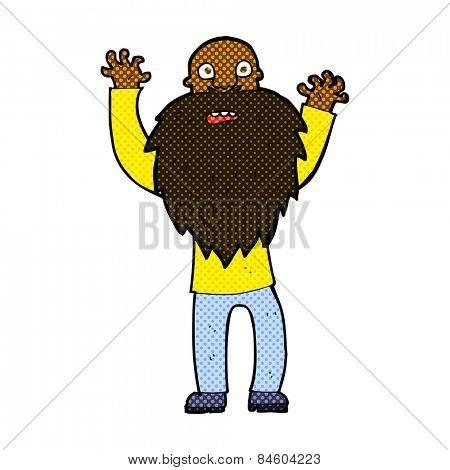 retro comic book style cartoon frightened old man with beard