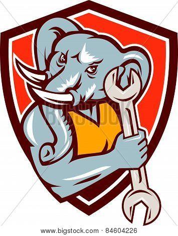 Elephant Mechanic Spanner Mascot Shield Retro