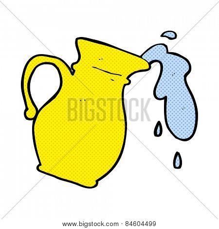 retro comic book style cartoon water jug