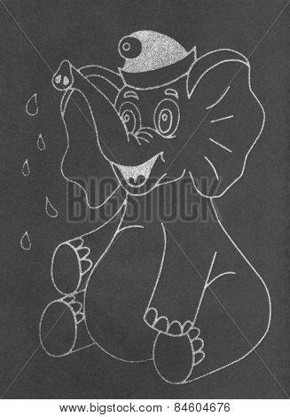 Happy elephant on chalkboard